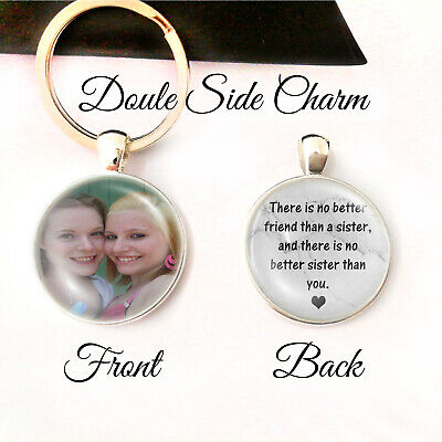 Personalised Double Side Photo Keyring Love Sister Birthday Presents Gifts
