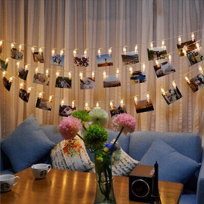 UK LED Hanging Picture Photo Peg Clip Fairy String Lights Party Room Decoration