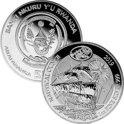 50 Francs Ruanda 2019 - 1 Unze Silber PP silver proof - Nautical Ounce: Victoria