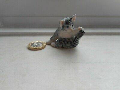 Cat - Beautiful Miniature Ceramic/Pottery Silver Tabby/White Playing With Tail