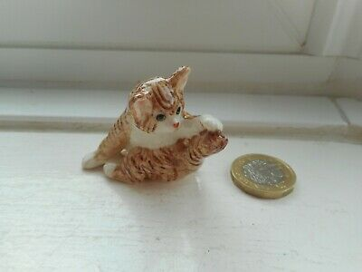 Cat - Beautiful Miniature Ceramic/Pottery Ginger Tabby/White Playing With Tail