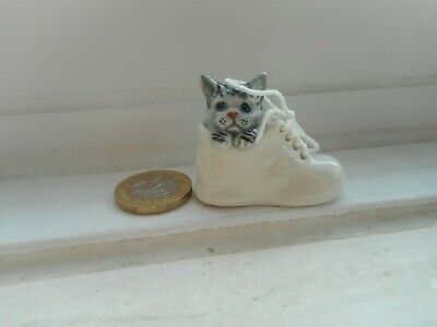 Cat - Beautiful Miniature Pottery Silver Tabby, White Cat/Kitten In A White Shoe