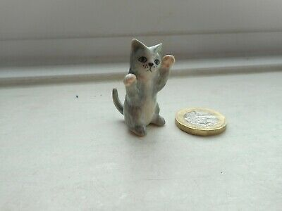 Kitten/Cat-Miniature Pottery- Playful - Beautiful Grey & White Cat/Kitten