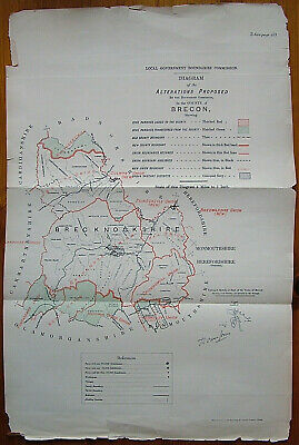 Rare - BRECKNOCKSHIRE Brecon Antique Ordnance Survey Map 1888. Robert Owen Jones