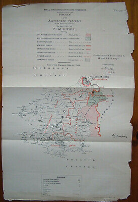Rare - PEMBROKESHIRE Antique Ordnance Survey Map 1888. Robert Owen Jones