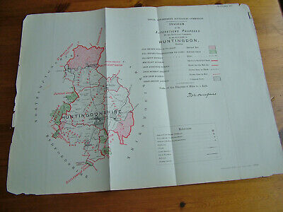 Rare - HUNTINGDONSHIRE Antique Ordnance Survey Map 1888. Robert Owen Jones