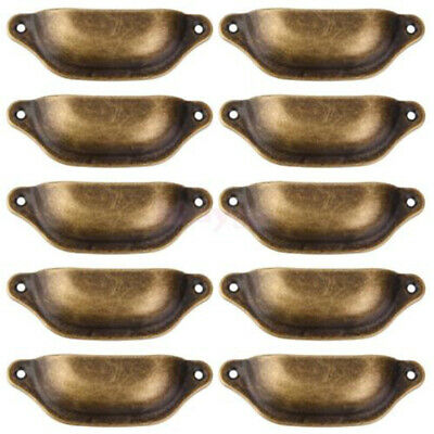 10x Antique Brass Rustic Cup Pull Cabinet Cupboard/Drawer Door Draw Handles Iron