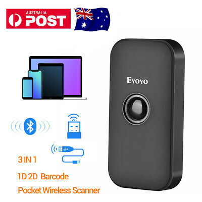 2.4G Wireless Bluetooth 1D 2D Barcode Scanner Reader for IOS Android Win7/8/10
