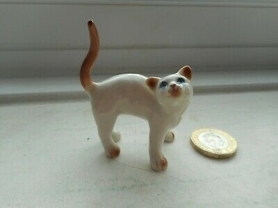 Cat - Beautiful Miniature Pottery - Stretching Up Cat- Unusual Cream Point Cat