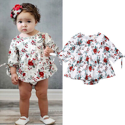 UK Sweet Newborn Baby Girl Clothes Flower Romper Dress Jumpsuit Overall Outfits