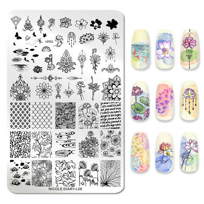 NICOLE DIARY Stamping Plate Lotus Leaf Patterns Pond Theme Nail Art Stencils L08