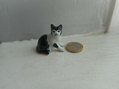 Cat - Beautiful Miniature Pottery Black & White - Sitting  -Unusual Cat