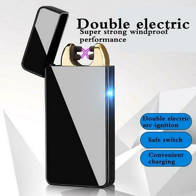 USB Electric Dual Arc Flameless Rechargeable Windproof Metal Cigarette Lighter