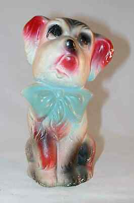 1920s Colorful Carnival Chalkware Prize Figurine Cute Dog Wearing Large Bow Tie