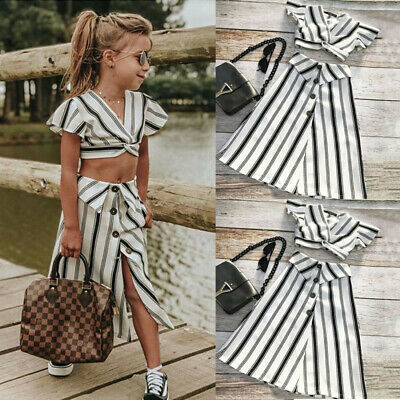 Toddler Kid Baby Girl Clothes Stripe Crop Top Skirt 2PCS Outfits Set Party Dress