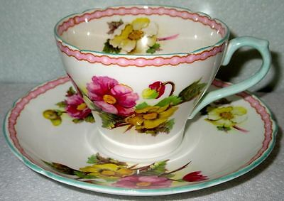Shelley Fancy BEGONIA Fine Bone China Cup & Saucer 1950s