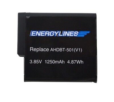 Battery for GOPRO Hero 5, AHDBT-501 3,85V 1250mAh by Energylines New