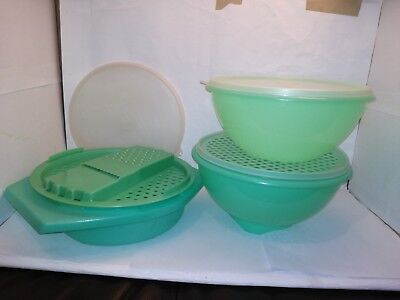 Vintage Retro Tupperware Jade Green Colander Grater and Stay Fresh Container Set