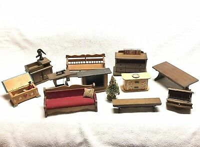 Vintage Lot of Handmade Wooden Dollhouse House Furniture 13 Pieces Chair Cabinet