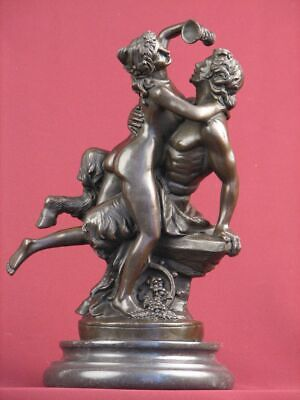 Bronze Statue Nude Faun Mythology Highly Detailed Sculpture On Marble Base