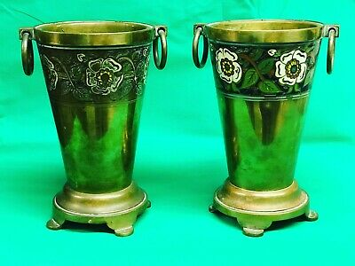 Pair Of Arts & Crafts Brass Copper And Enamel Vases