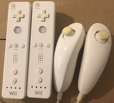 2 X GENUINE NINTENDO Wii ORIGINAL OFFICIAL REMOTE CONTROLLER And Nunchuck