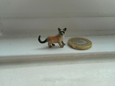 Cat - Beautiful Tiny Tiny Miniature Pottery Standing Fawn & Grey Cat/Kitten