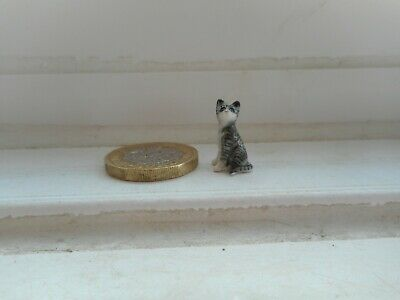 Cat - Beautiful Tiny Tiny Miniature Pottery Silver Tabby & White - Cat/Kitten