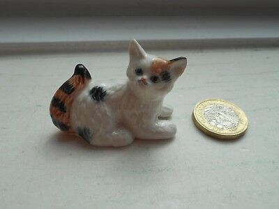 Cat - Beautiful - Miniature Pottery Tortoiseshell And White Cat - Lying Down