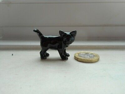 Cat - Beautiful Miniature Pottery Black - Standing Cat- Unusual Black Cat/Kitten