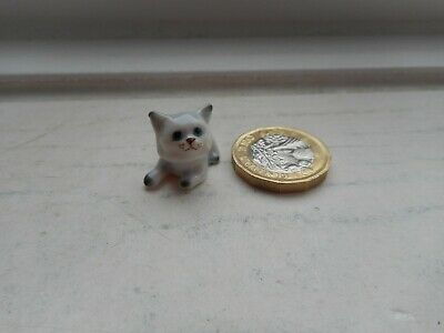 Cat - Beautiful Tiny Miniature Ceramic  -Pale Grey, Dark Points - Cute Miniature