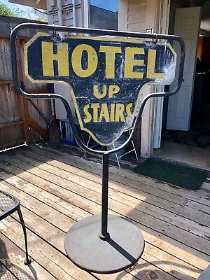 Early Hotel Upstairs, 1920's Double Sided Sidewalk Sign, Seattle Hotel