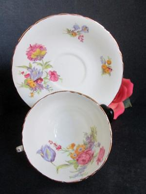 Pretty Sutherland English Bone China Teacups & Saucers Floral 254