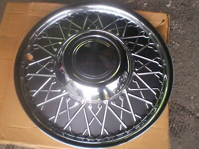 1940-50-60's CHEVY FORD MOPAR CHROME WIRE WHEEL DISK COVERS IN BOX NOS SET OF 4