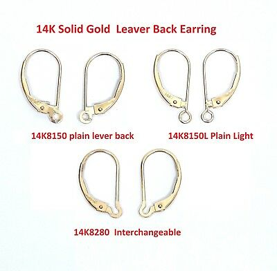 14K  Solid Gold  Lever Back Earring ,2 pieces,6 pieces.