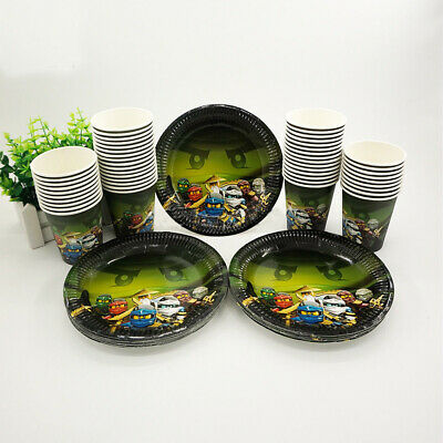 Lego Ninjago Children Birthday Party Paper 12 Plate 12 Cup Tableware Decorations