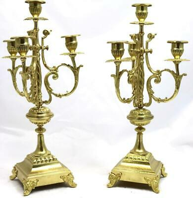 Antique Pair Of French Mantle Clock 4 Branch Embossed Bonze Candelabras