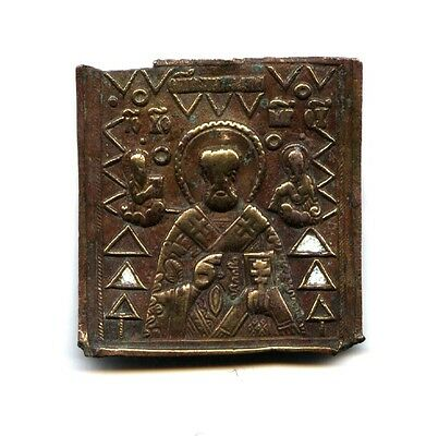 RARE  OLD XVIII c. Russian Orthodox bronze Icon  :  Saint NIKOLAS