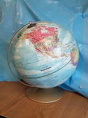 """Vintage REPLOGLE World Nation Series TOPOGRAPHY 38"""" Dia GLOBE Axis Metal USSR"""