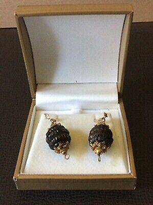 RARE Antique Victorian Etruscan Beetle Earrings