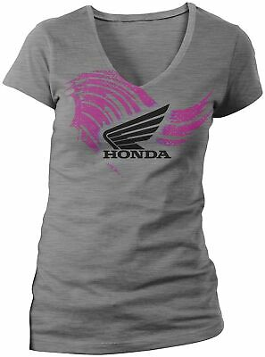 Honda Collection Ladies Abstract Wings Short Sleeve Tee 547347 Lg Gray