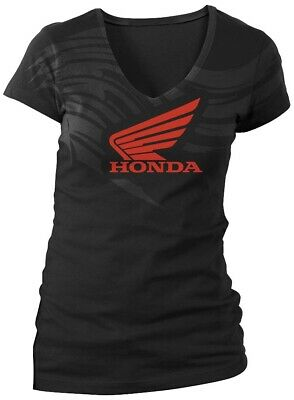 Honda Collection Ladies Abstract Wings Short Sleeve Tee 54-7268 Lg Black