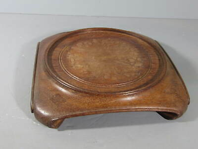 """LARGE CHINESE ANTIQUE CARVED WOOD STAND BASE VASE BOWL 8"""" Dia."""