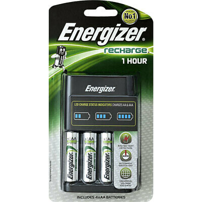 4pc Energizer AA Universal Rechargeable 2300 mAh Batteries w/Fast Charger Unit