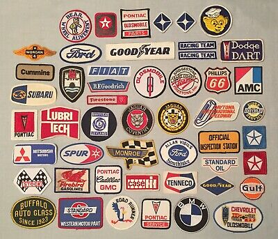 50 Vintage Car Auto Racing PATCHES Lot Gas Oil Advertising GMC AMC Pontiac Gulf