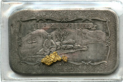 Mother-Lode Mint The Prospector 1 oz .999 Fine Silver Bar with Gold Nugget