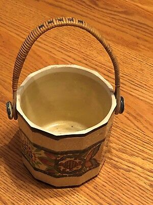 Vintage Pottery hand painted with beautiful wooden handle... Made in Japan !