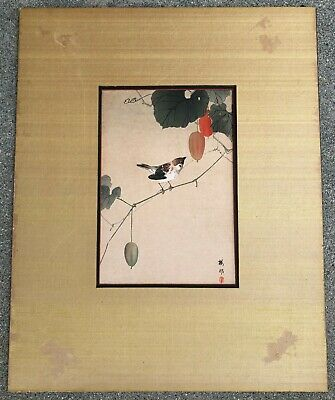 "Antique Japanese ""Bird And Khaki"" Woodblock Print With Signed"