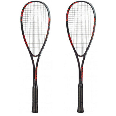 2x Head Black/Grey/Red Cyber Edge Adult Squash Racket/Racquets w/ Cover/Case