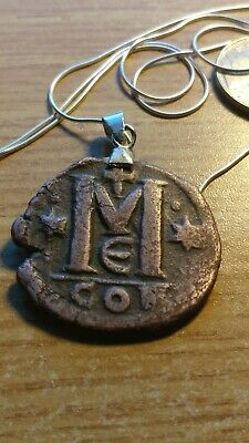 "Constantinople Byzantine Follis Bronze Coin Pendant on a 28"" Italy Snake Chain."